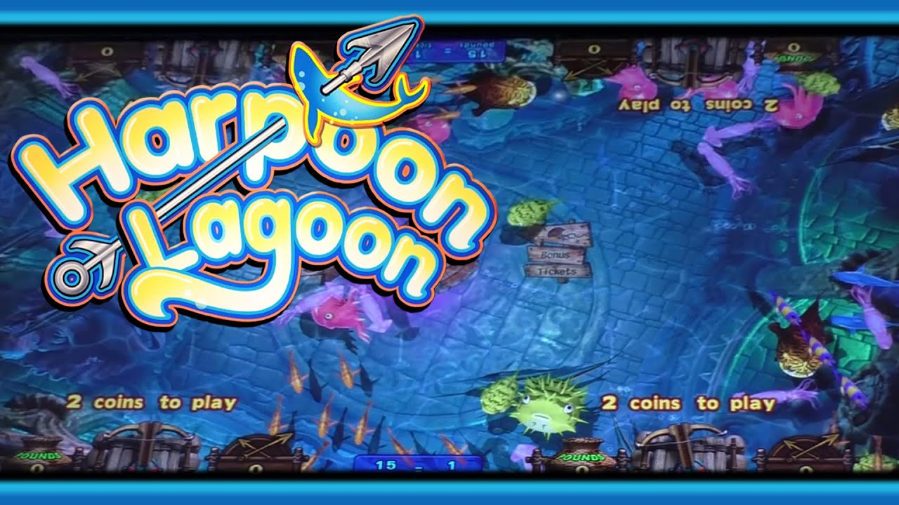 Harpoon lagoon jackpot arcade ticket game youtube for Fish arcade game