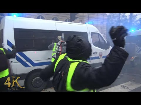 Paris: Violence extrême des gilets jaunes / Violent riots by yellow vests December 2018