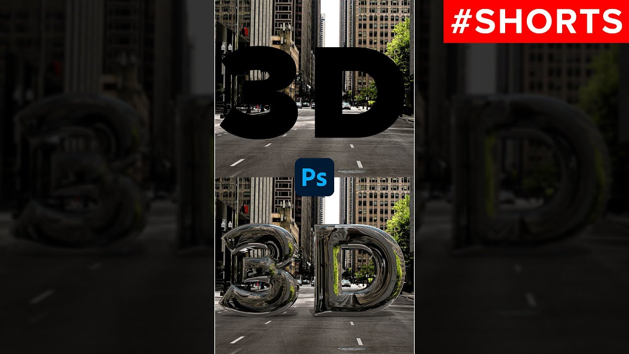 Realistic 3D Chrome Text in Photoshop #shorts