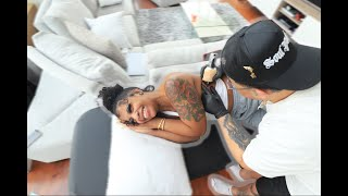 De'arra Got 3 Tattoos In ONE DAY | (she almost passed out..)