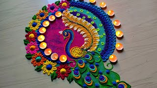 Peacock rangoli designs 2020/satisfying sand art video