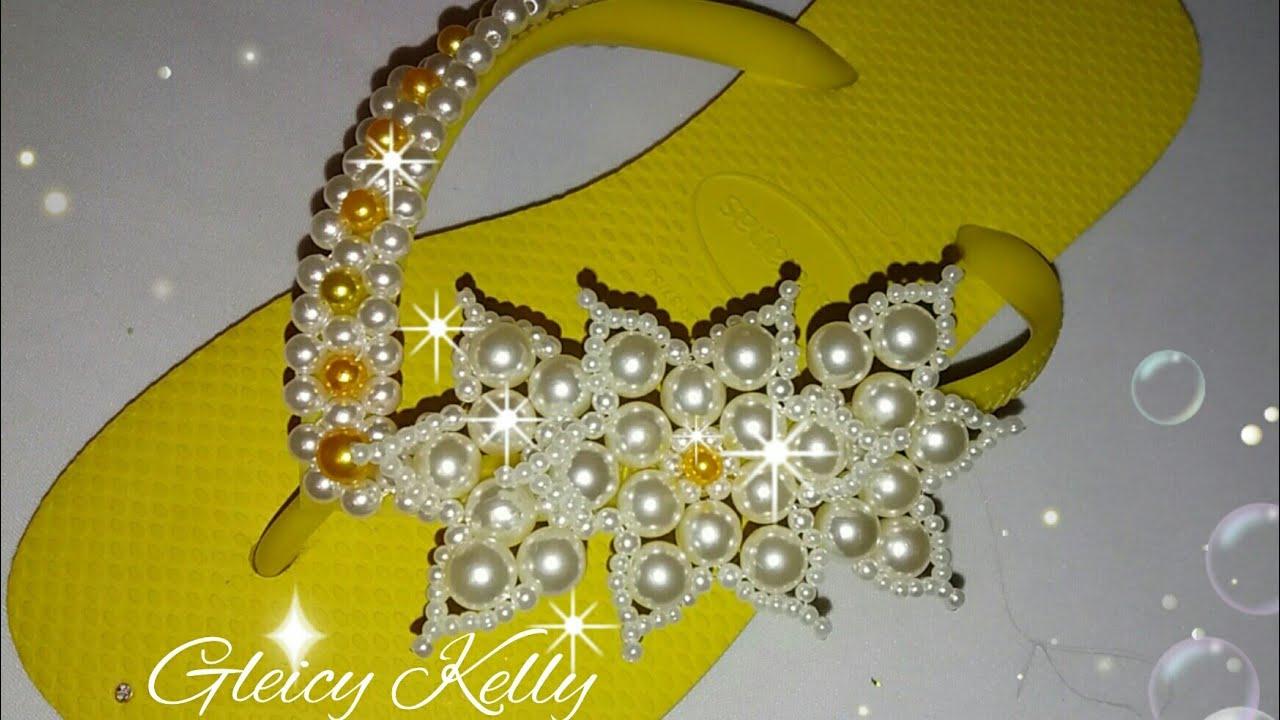a0dbff077 Chinelo bordado com flor e meia de pérolas parte 2 Com Gleicy Kelly Barbosa