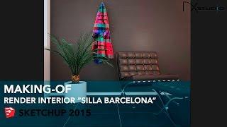 "Render Interior ""Silla Barcelona"" - Making-of 5 - Sketchup 2015 - DK Studio"