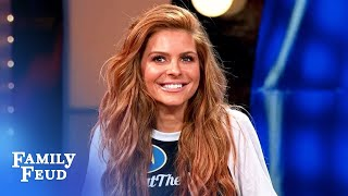 Miracle answer earns a hug from Maria Menounos! | Celebrity Family Feud Video