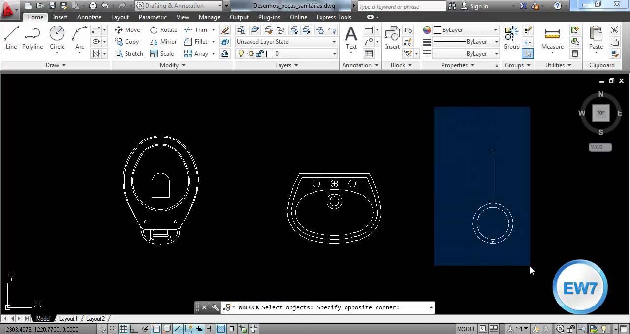 Aprenda a criar e inserir blocos no AutoCAD  YouTube -> Bloco De Pia De Banheiro Para Autocad