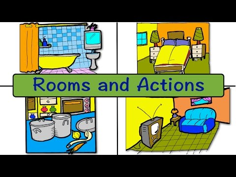 Rooms And Actions | At Home | Easy English Conversation Practice | ESL | EFL