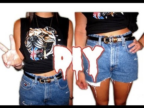 DIY: $10 Outfit - High Waisted Jean Shorts and Oversized Shirt ...