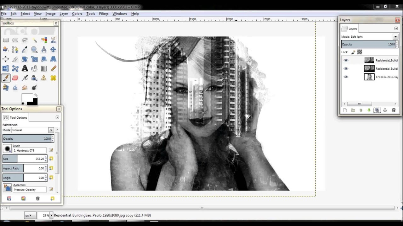 Double Exposure Tutorial in GIMP Malay version - YouTube