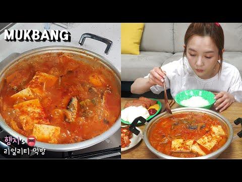 리얼먹방:) 초간단 꽁치김치찌개 ★ ft.스팸,계란후라이ㅣKimchi-jjigae (spicy kimchi stew)ㅣREAL SOUNDㅣASMR MUKBANGㅣ