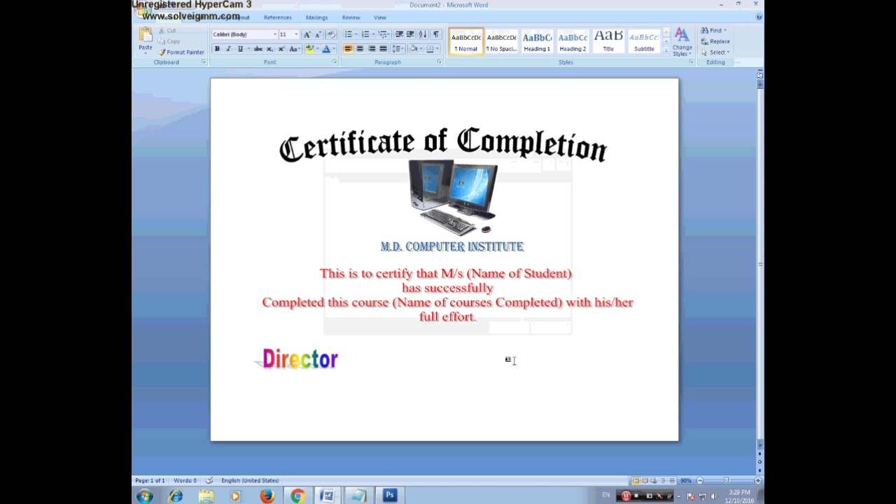 How To Make A Certificate Of Appreciation In Ms Word Youtube