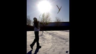 Boomerang around a shed and trip in the snow lol