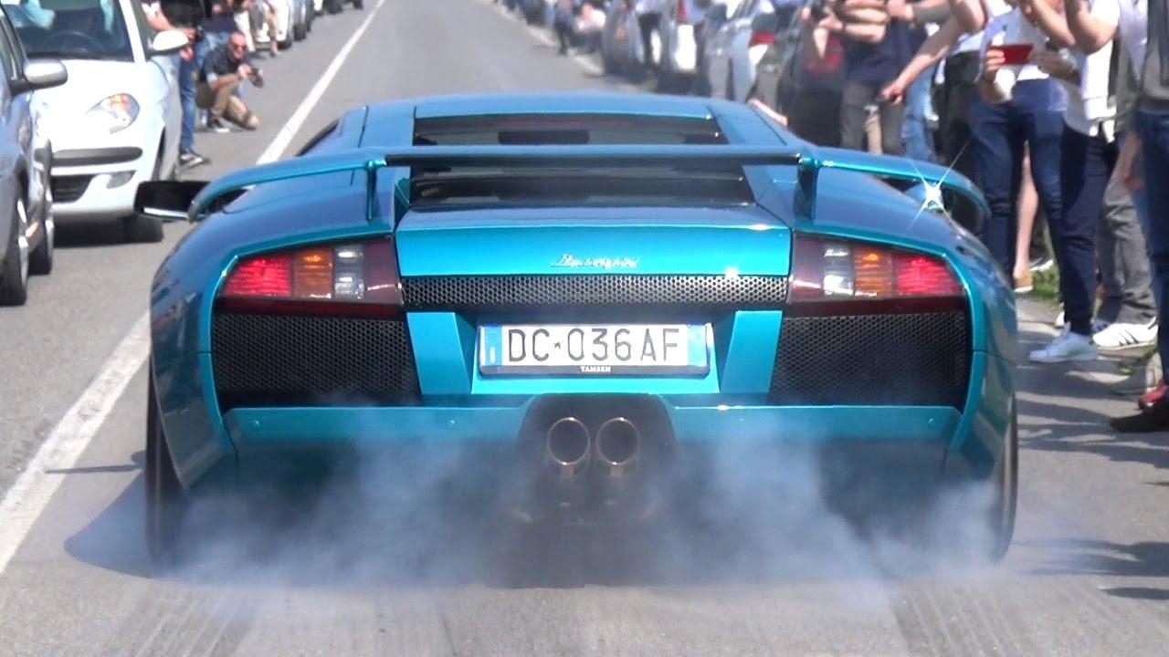 Epic Burnout Lamborghini Murcielago With Straight Pipes Loud V12