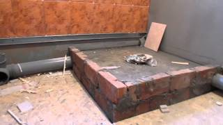 Ванная комната каркасного дома из ЛСТК(Влагостойкий гипсокартон, грунтовка, гидроизоляция, бетоноконтакт, закладные под котел, укладка плитки,..., 2014-11-24T11:06:12.000Z)