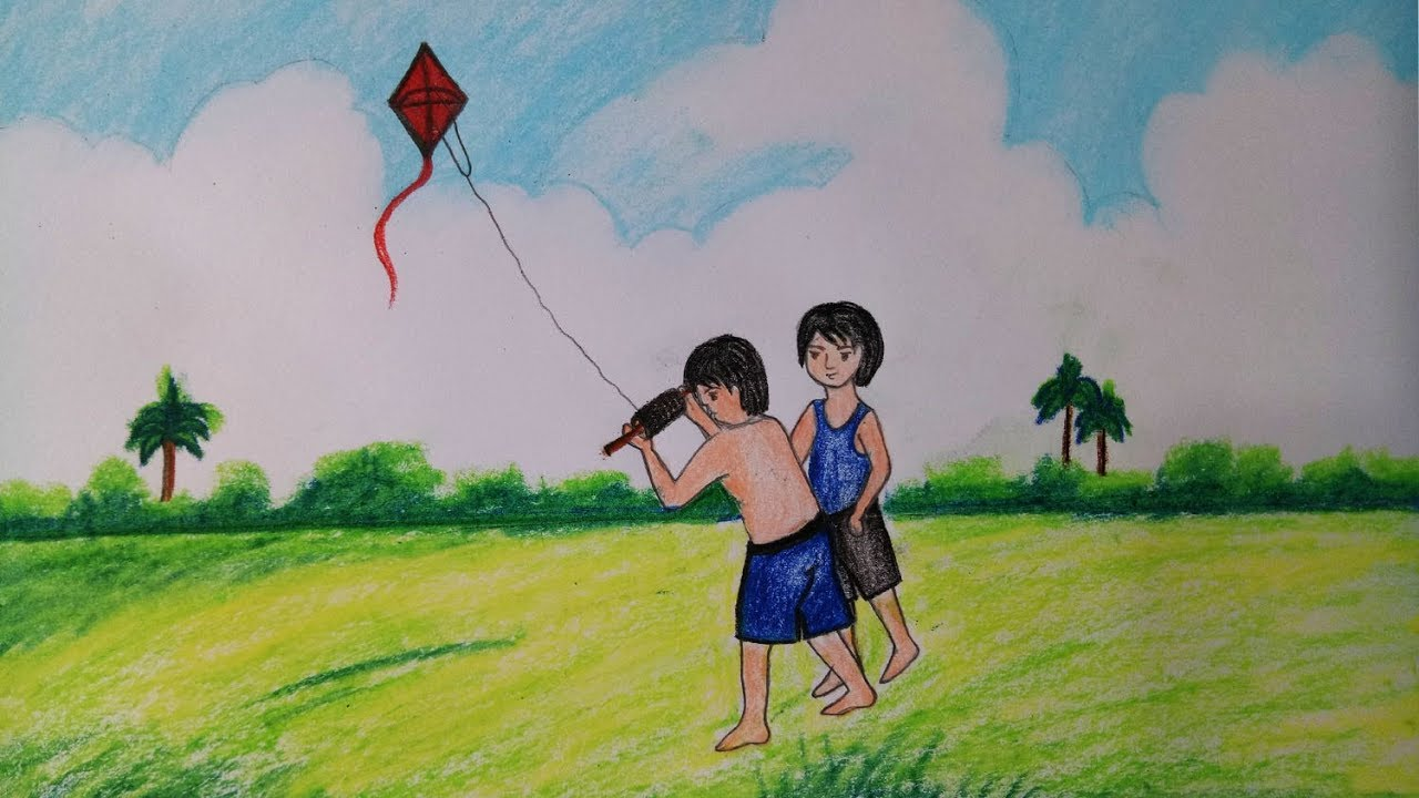 How To Draw Kite Flying Scenery Step By Step Easy Draw Youtube