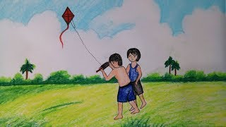 Easy Kite Flying Drawing
