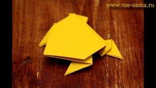 Прыгающая лягушка оригами (Jumping frog origami)(Прыгающая лягушка в технике оригами. Делал я ее из плотной бумаги, чтобы лучше прыгала, на видео видно, что..., 2012-12-11T09:36:40.000Z)