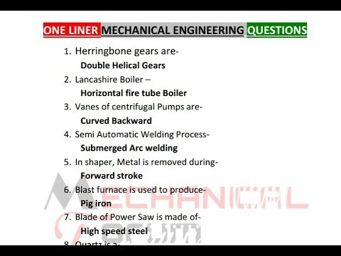 Mechanical Engineering Basic Questions Pdf