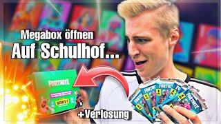 BOOSTER PACKS BOX open on schoolyard!   *Rare* Fortnite HOLO CARD and first skin!
