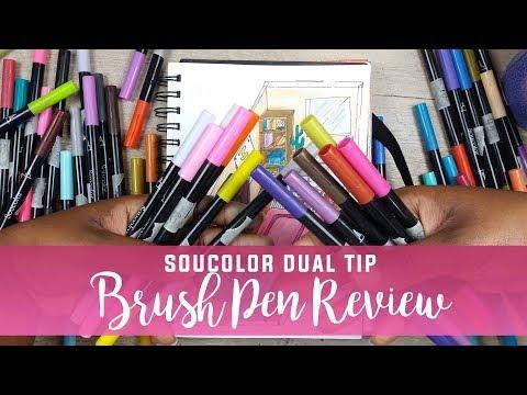 Soucolor Dual Tip Brush Pens Review