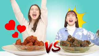 [ENG SUB]Mint chocolate Chicken VS Korean Spicy Chicken I Mint Choco Challenge with Banhee