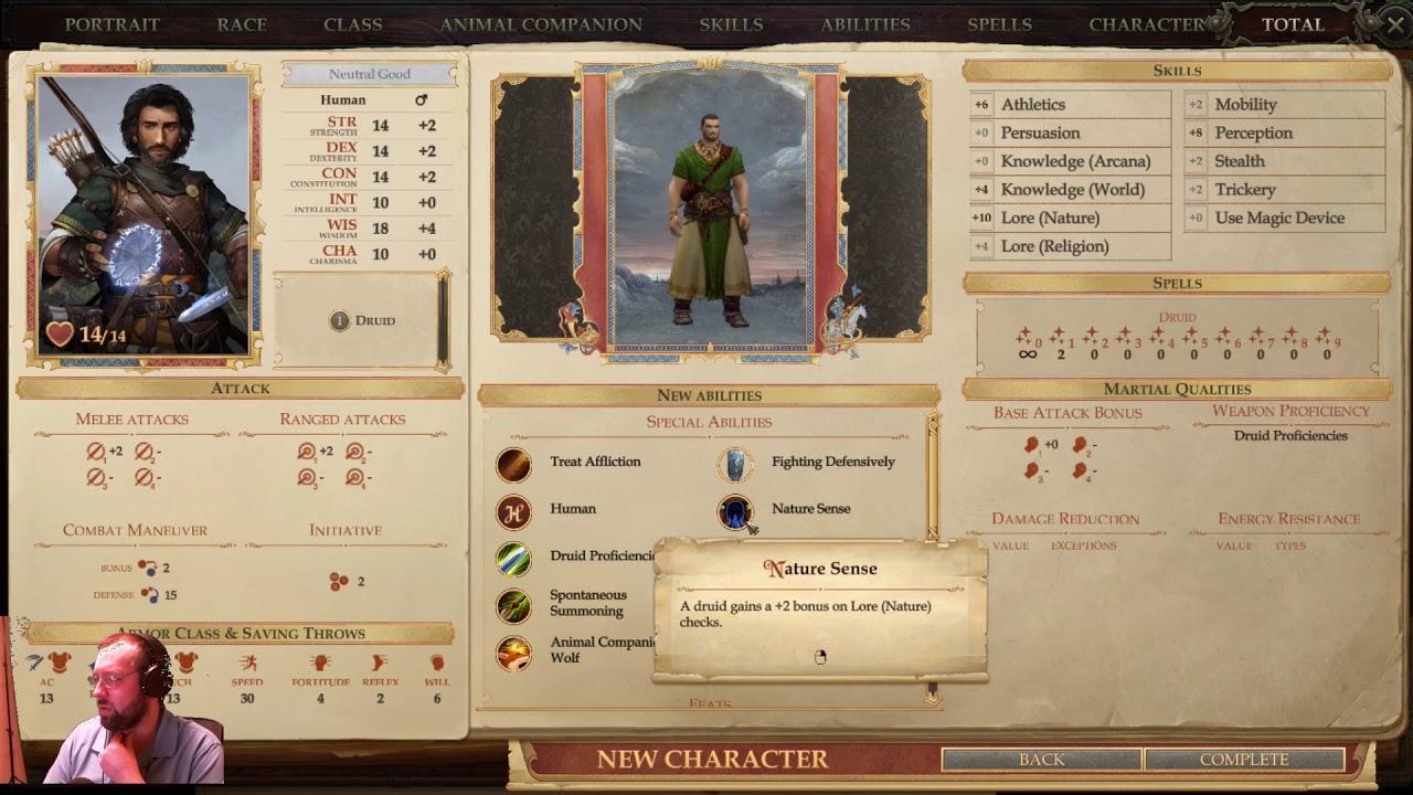 Pathfinder's: Kingmaker- Druid creation- Part 1