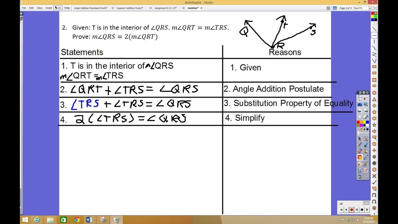 worksheet Angle Addition Postulate angle addition postulate proofs youtube proofs