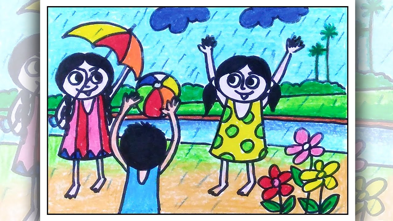 How To Draw Children Playing Rainy Day Scenery Drawing For Kids