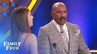 "Crazy Answer! Steve Harvey tells contestant ""It's okay..."" | Family Feud"