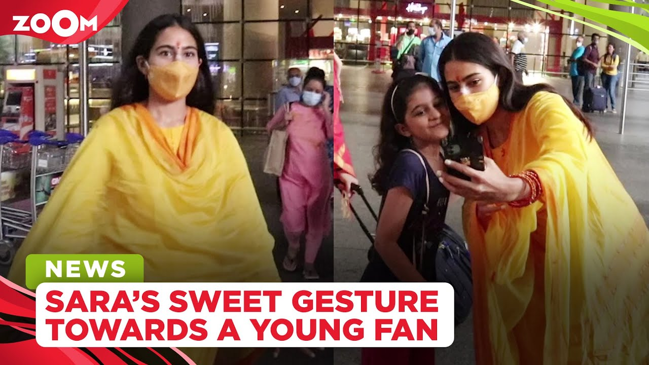 Sara Ali Khan's sweet gesture towards a young fan at the airport wins hearts
