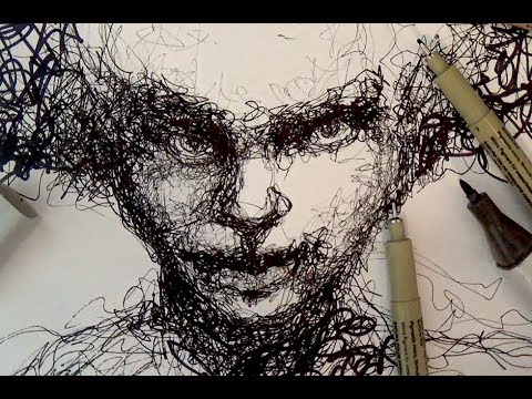 Pen and ink drawing tutorials scribble portrait drawing demo pen and ink drawing tutorials scribble portrait drawing demo ccuart Image collections