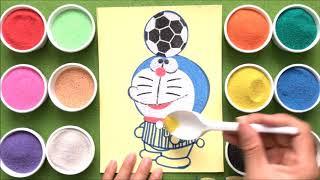 Đồ chơi trẻ em TÔ MÀU TRANH CÁT ĐÔRÊMON ĐÁ BÓNG - Learn colors sand painting toys (Chị Chim xinh)