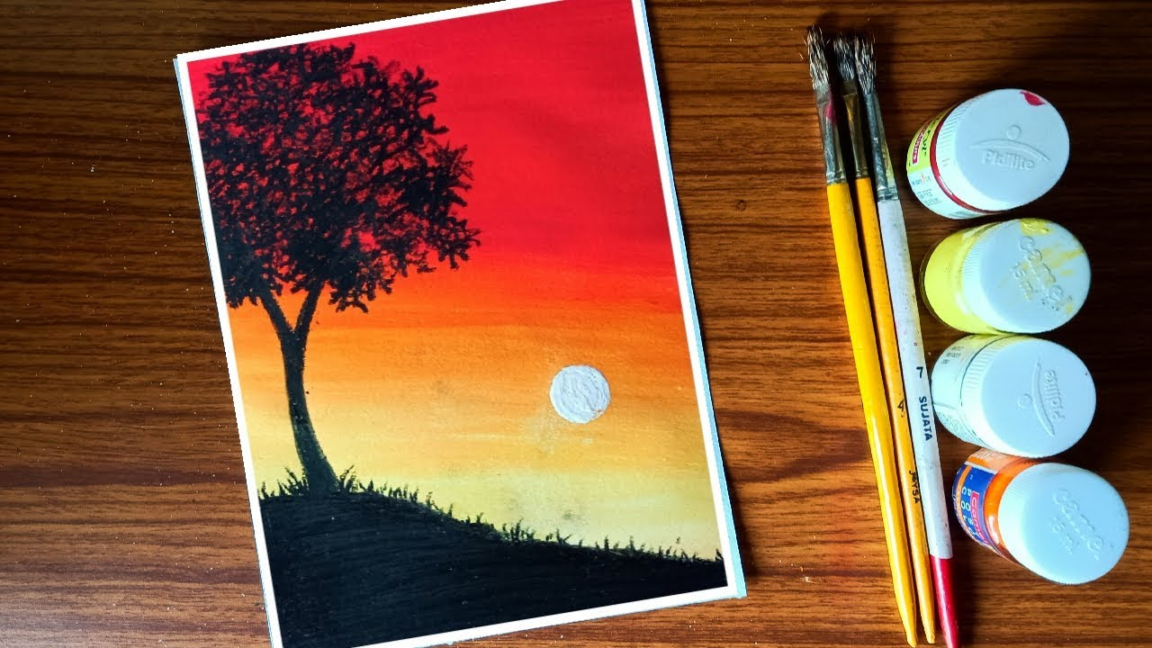 Easy Poster Colour Sunset Painting For Beginners Step By Step Youtube