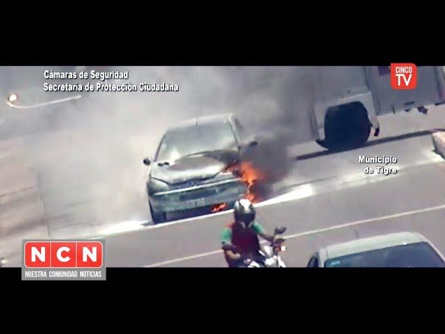 CINCO TV - Auto en llamas fue detectado y controlado gracias a las cámaras del COT