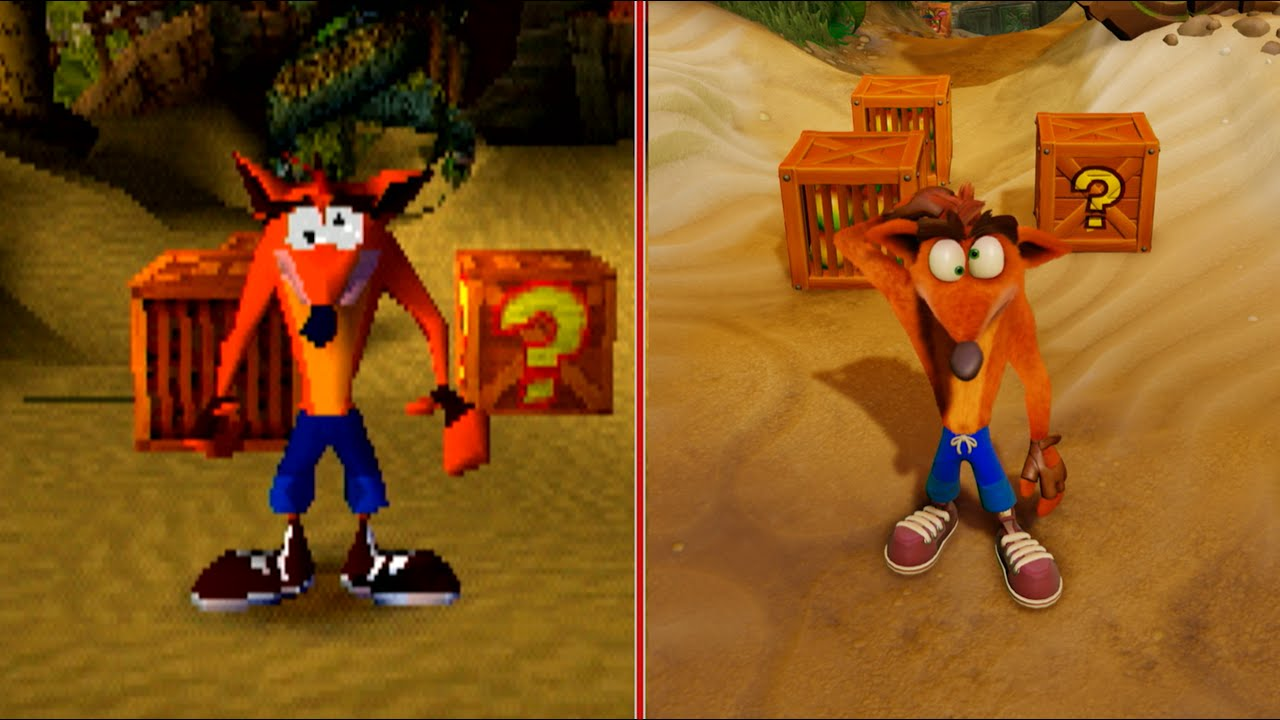 crash bandicoot graphics comparison ps1 vs ps4 pro youtube