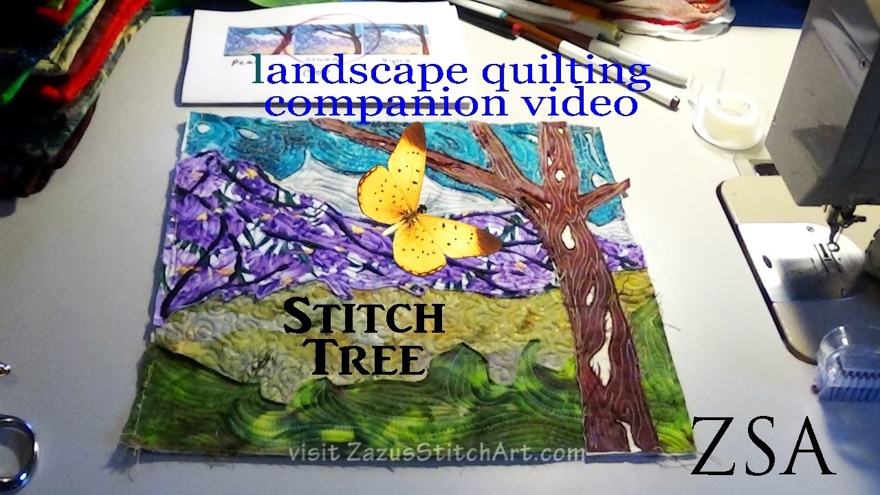 Free Motion Quilt Tree Landscape Quilting Companion