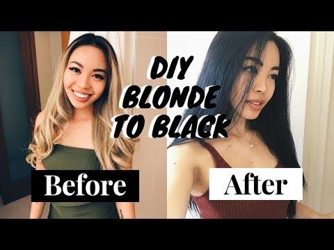 How to: Blonde to BLACK hair (DIY)