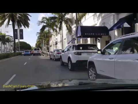2017 Los Angeles Driving Tour: Rodeo Drive Beverly Hills Fashion Shopping. No music. No talking.