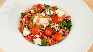 Farro Salad With Cherub Tomatoes, Pistachios, And Pomegranate Seeds