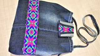 How To Make Easy Hand Bag From Old Jeans, DIY Hand Bag, Old Cloth Reuse