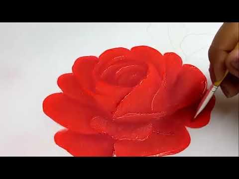 Pintura En Tela Como Pintar Una Rosa Roja Fácil Pinturaentela Youtube