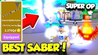 GETTING THE MOST EXPENSIVE WAR SABER IN SABER SIMULATOR UPDATE!! *SO OP* (Roblox)