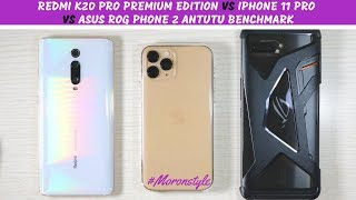 Redmi K20 Pro Premium Edition vs iPhone 11 Pro vs Asus ROG Phone 2 Antutu Benchmark