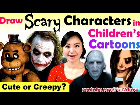 Thumbnail: ART CHALLENGES! Cute or Creepy? Famous SCARY Characters in Kid's Cartoons