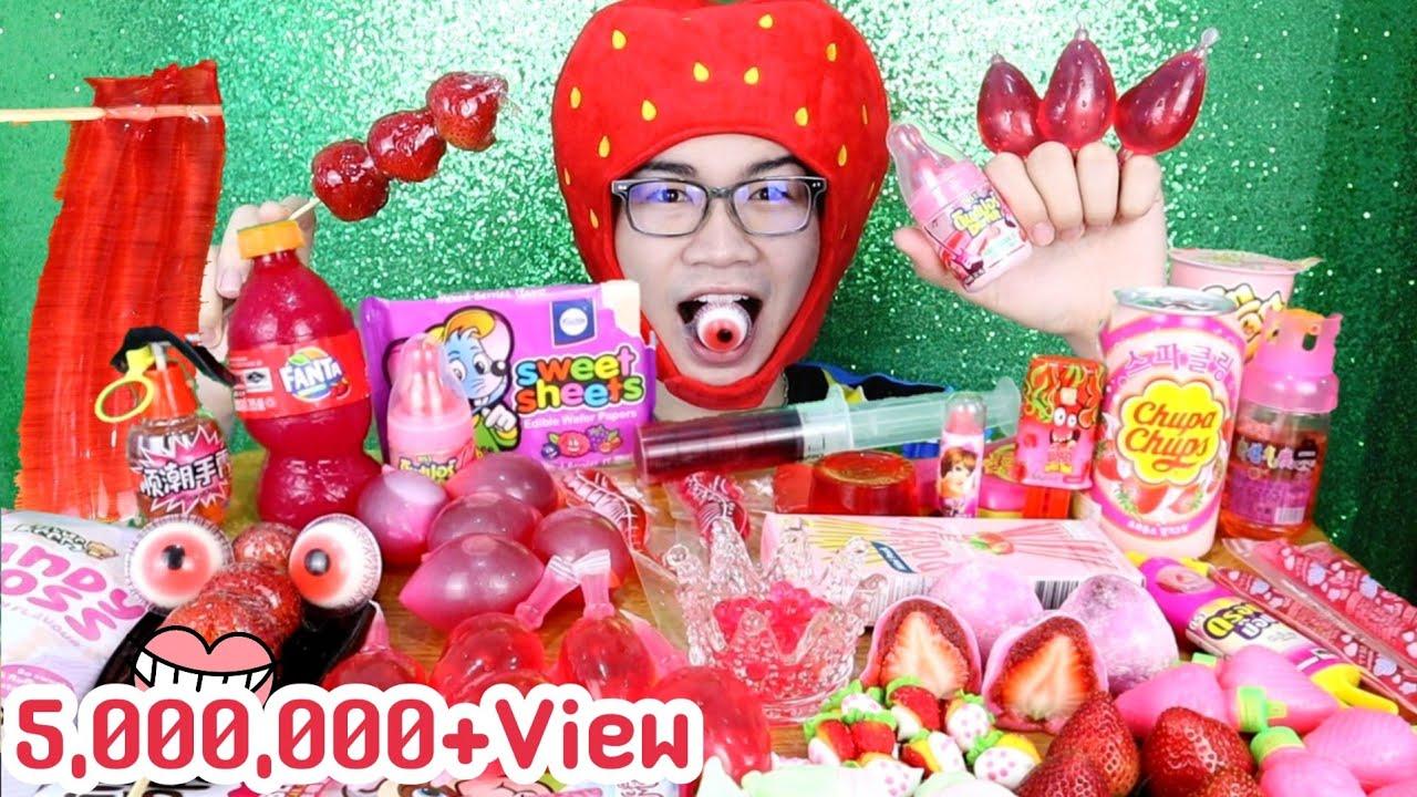 สตอเบอรี่ ขวดแฟนต้ากินได้ ไดฟูกุ สตอเบอรี่กรอบ #Mukbang EDIBLE SODA BOTTLE Strawberry Jelly:ขันติ