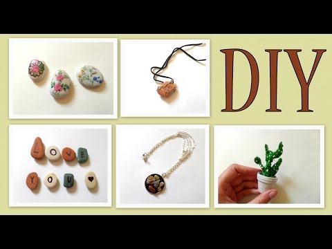 5 Pebble Stones Craft Ideas- DIY Nature Crafts Beach Themed  by Fluffy Hedgehog