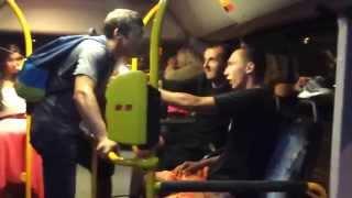 Bus Fight - 2 Poles vs 2 Ukrainians - Drunk Hooligan Street Fight