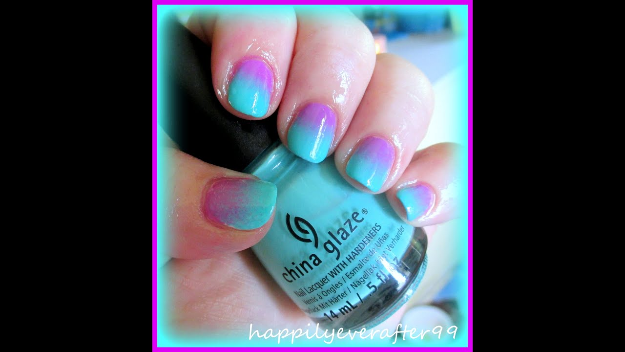 Bright Teal & Purple Ombre Nails - YouTube