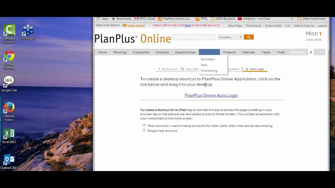 Auto Login Desktop Shortcut - PlanPlus Online