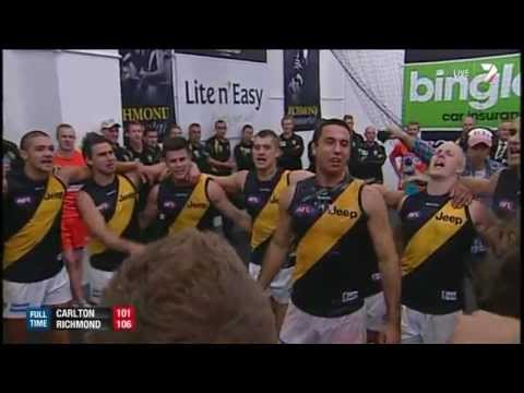 Tigers belt out the team song - AFL