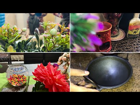 Cleaning & Rearranging/ How to season an Iron Kadai included